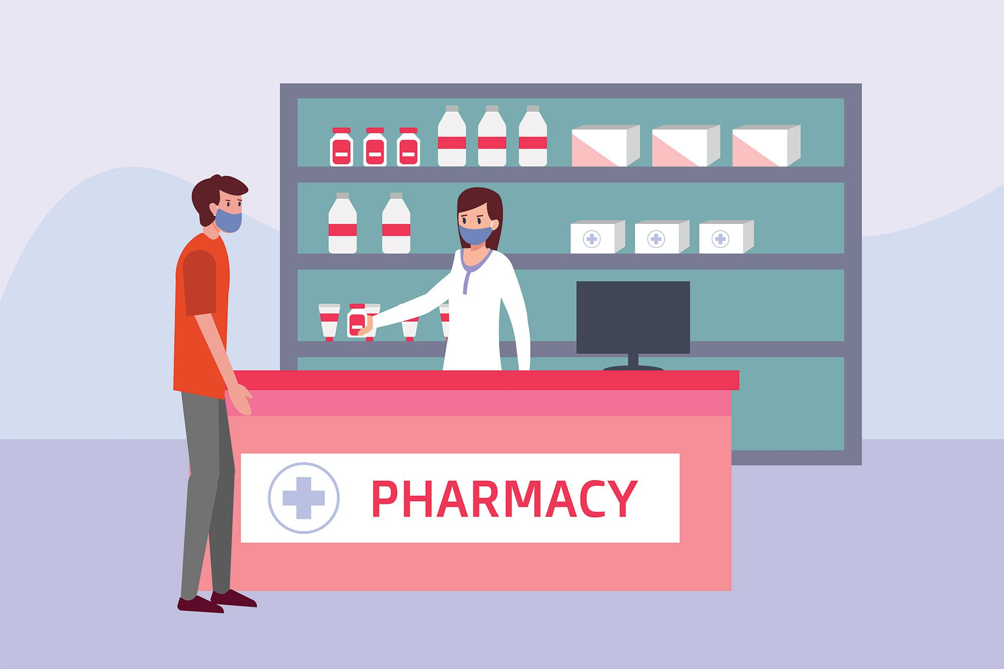 Pharmaceutical vector concept: Female pharmacist wearing a face mask and giving drugs to male buyer in the drugstore