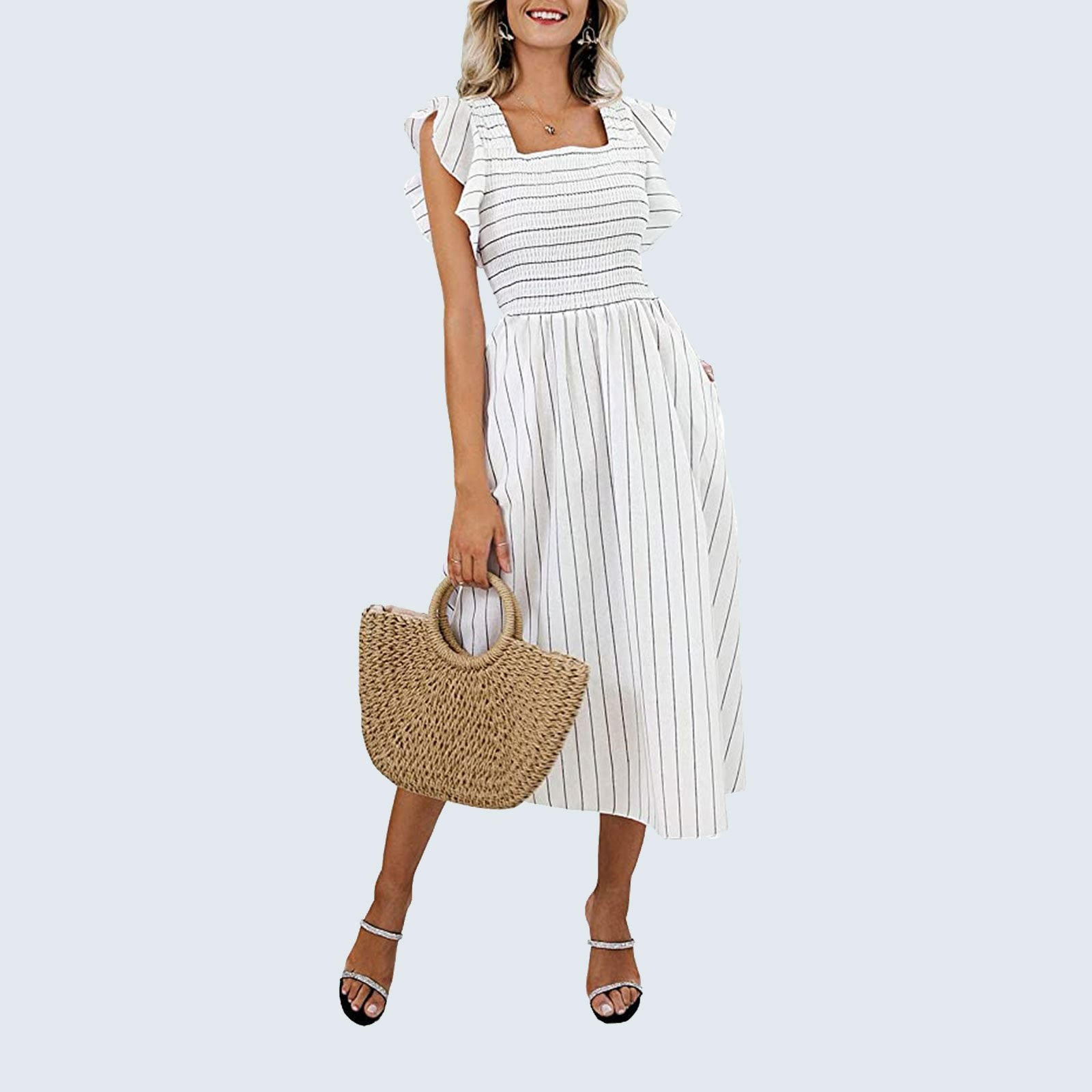 For the millennial mom: Miessial Striped Linen Dress