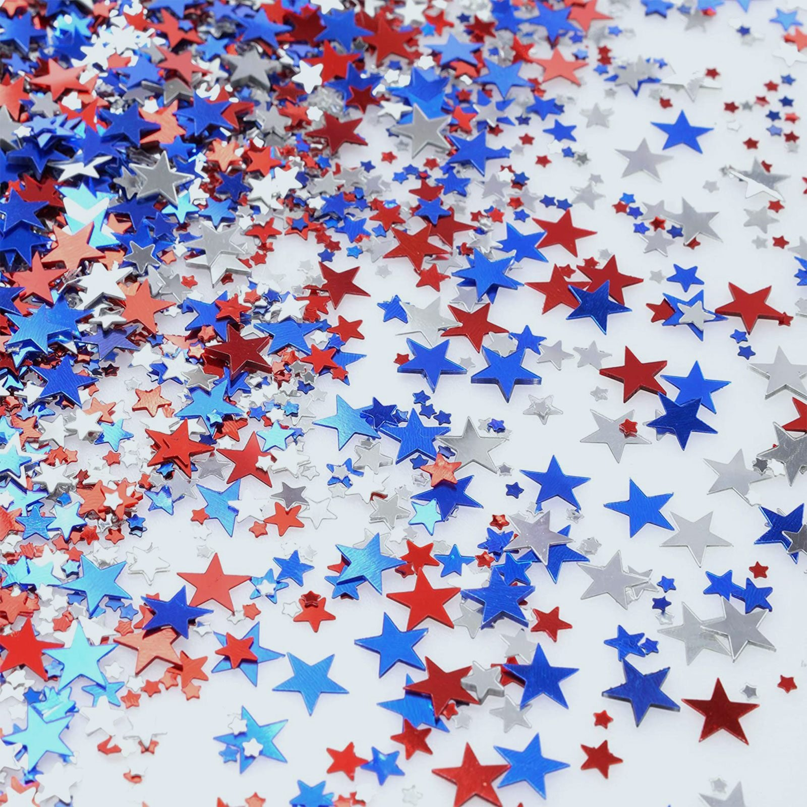 Red Blue White Twinkle Stars Table Confetti