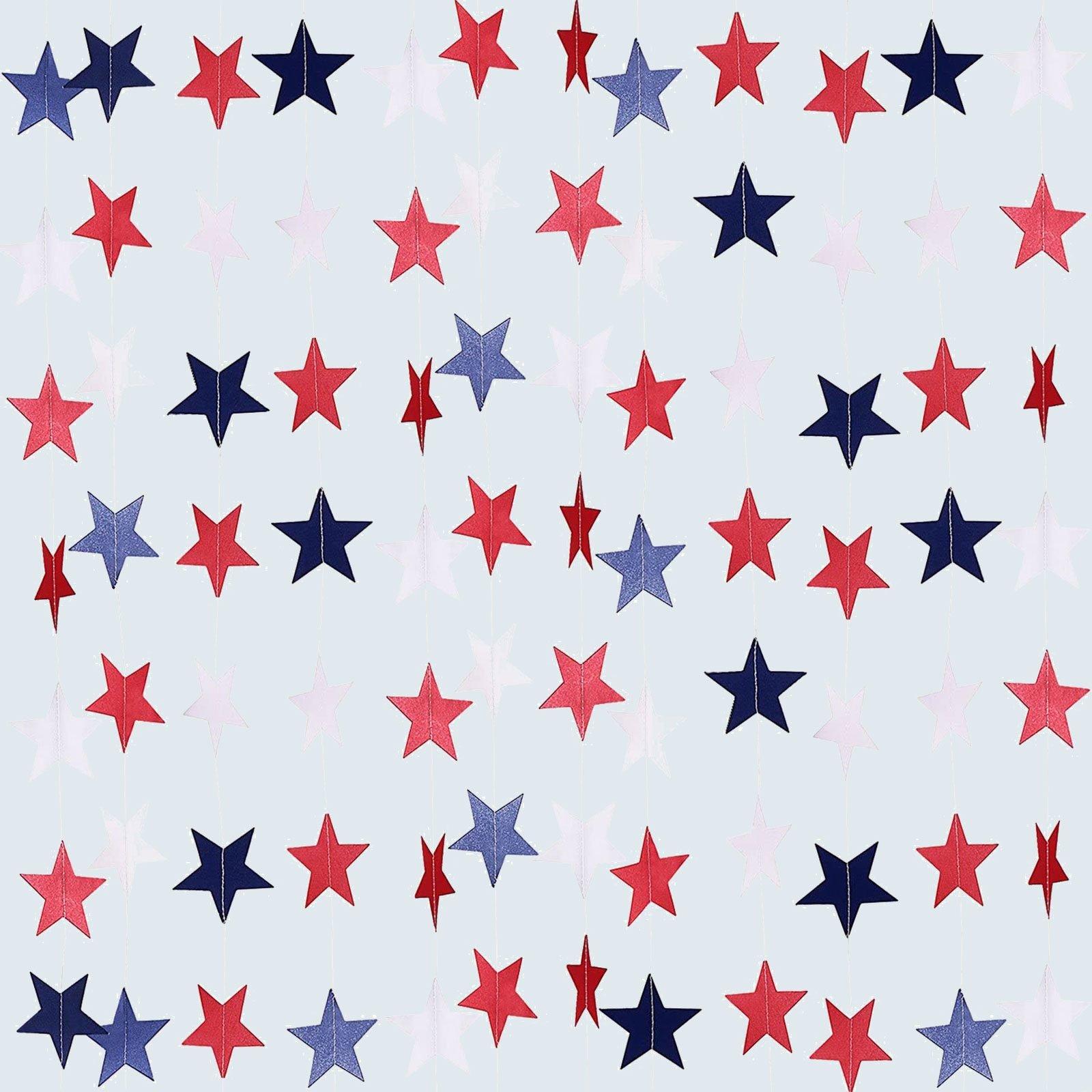 Patriotic Star Streamers Banner