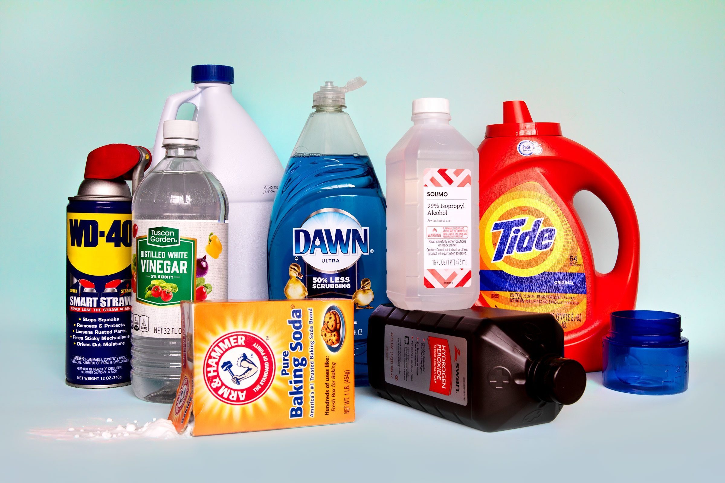 a collection of cleaning products used to clean every type of stain
