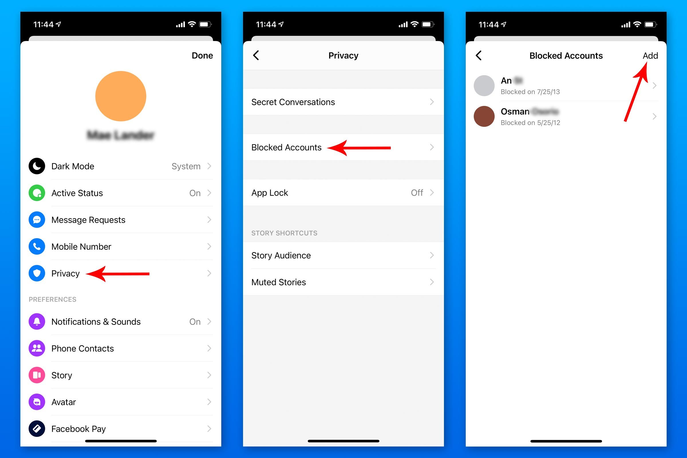 How to block someone on the Facebook Messenger mobile app by adding someone to the blocked users list