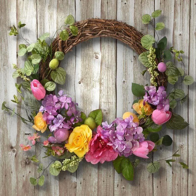 Decorated Rattan Wreath