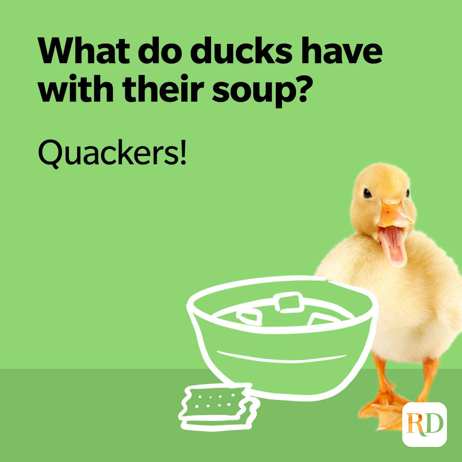 20. What do ducks have with their soup? Quackers!