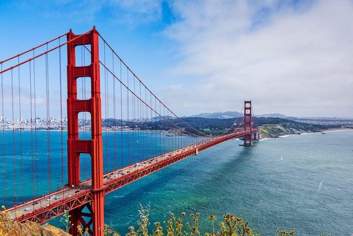 Golden Gate Bridge and the Golden Gate strait, San Francisco, California
