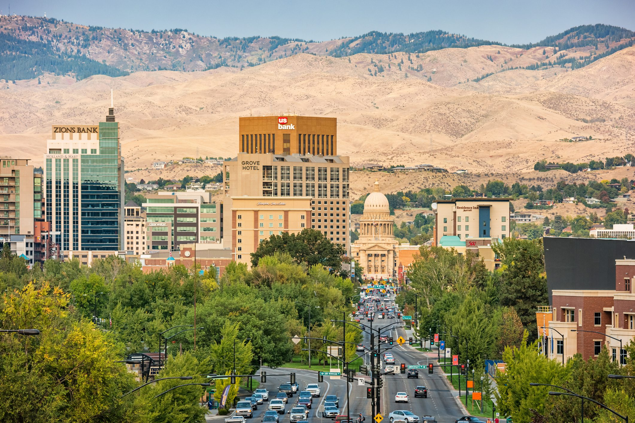 the downtown financial district and South Capitol Boulevard in Boise Idaho USA on a sunny day