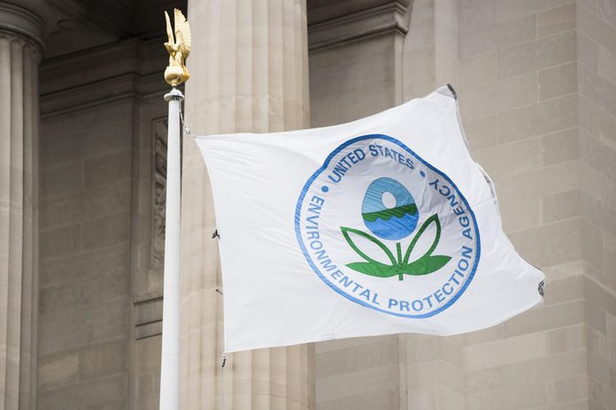 A flag with the EPA logo flies in front of the Environmental Protection Agency on Tuesday, Jan. 1, 2019.