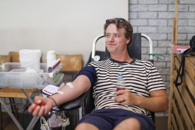 Donating Blood.