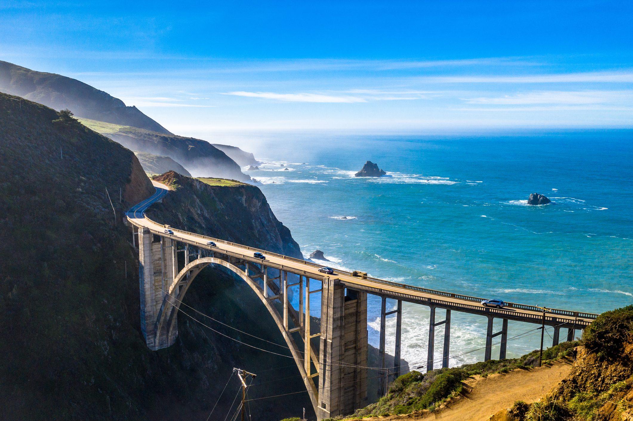 Big Sur Bridge California Ocean Road Costline CA-1 Pacific Coast Highway Drone Shot