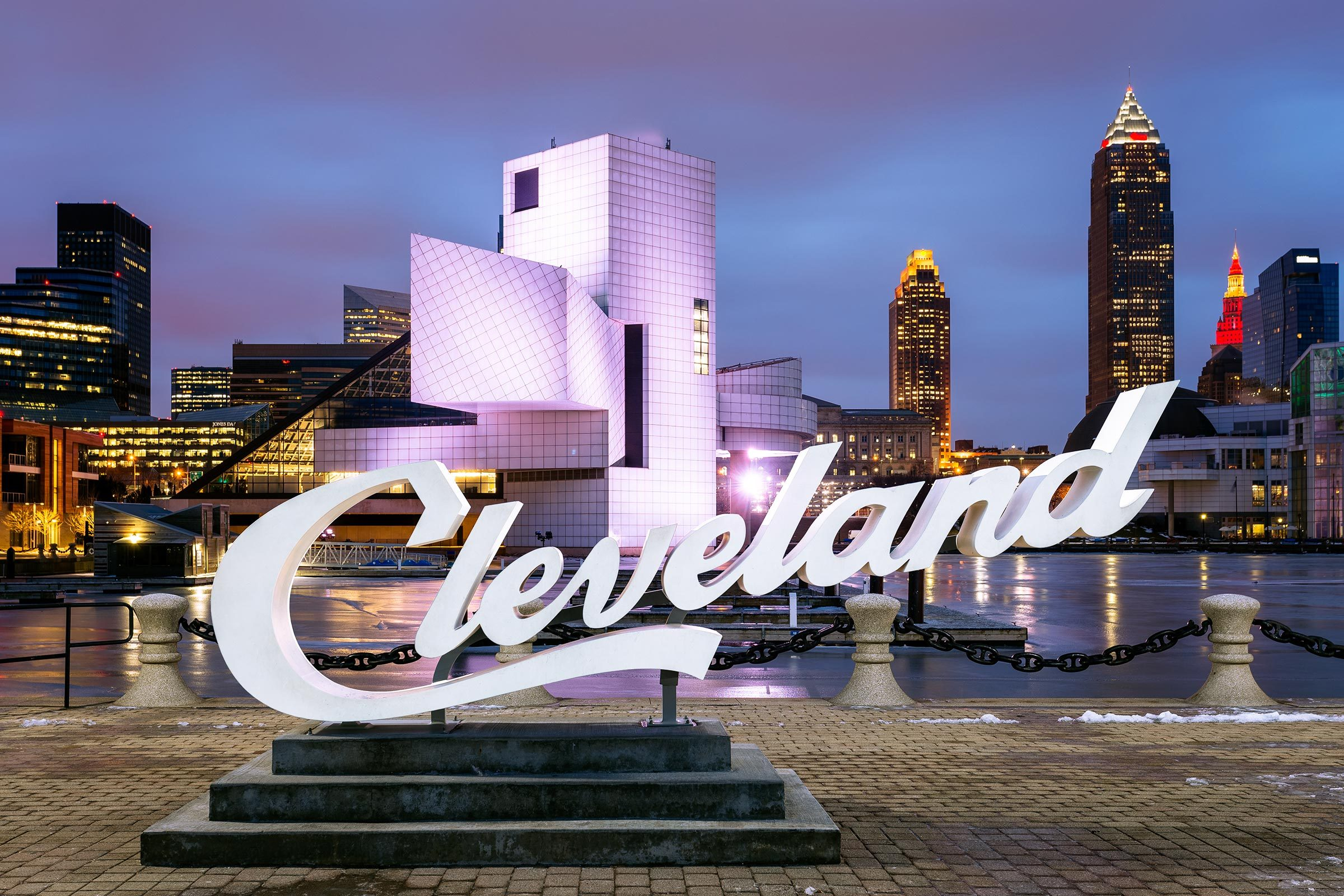 Cleveland Script Sign at the marina of Lake Erie, Cleveland, Ohio, in front of the Rock & Roll Hall of Fame