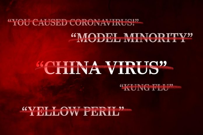 dark red and black background with anti-asian racist language crossed out