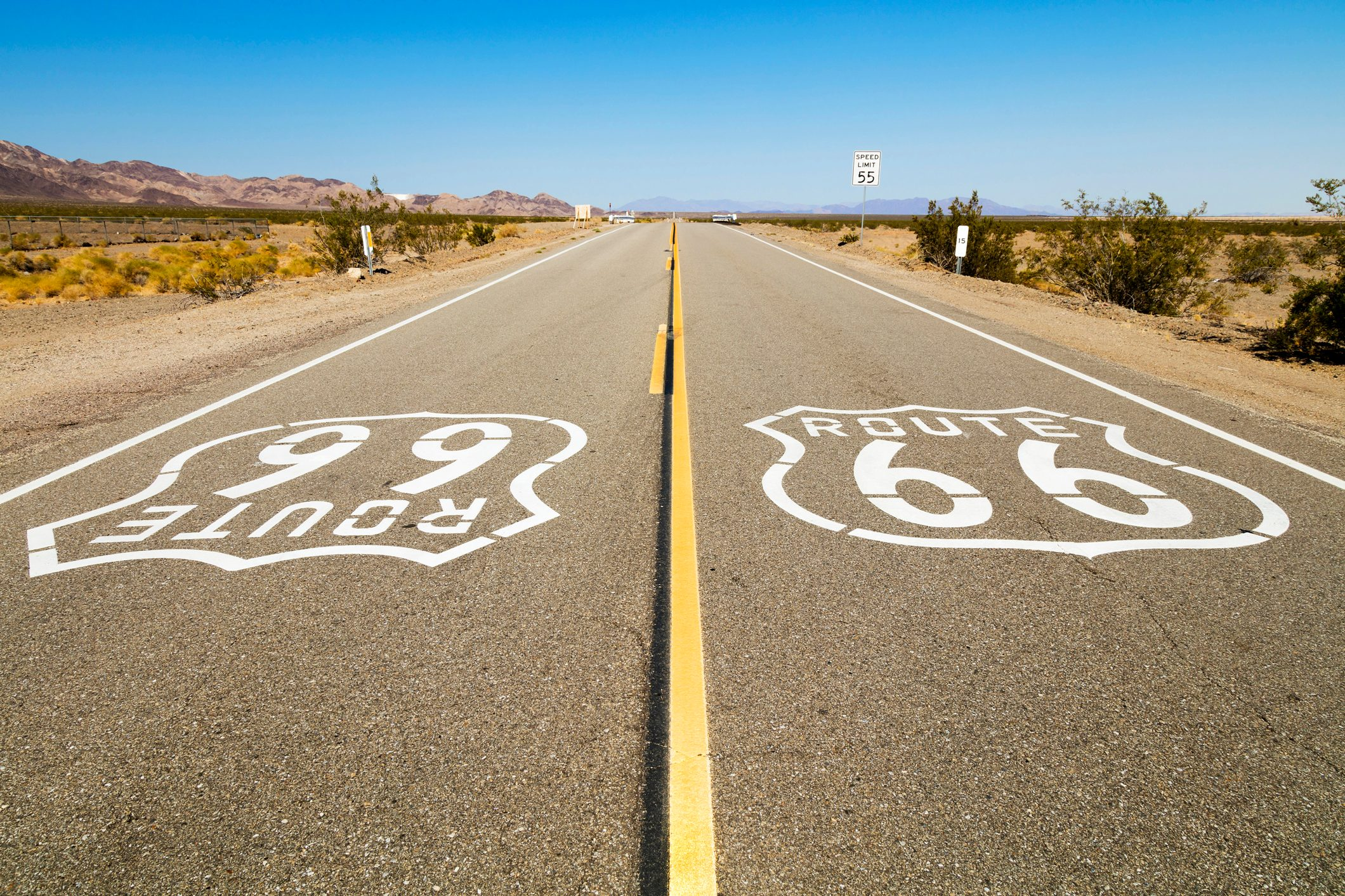 Route 66 Sign on the road, California, USA