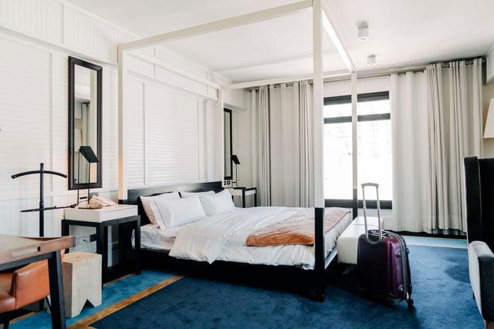 Interior of modern hotel bedroom
