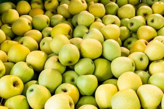 Full Frame Shot Of Apples At Market Stall.