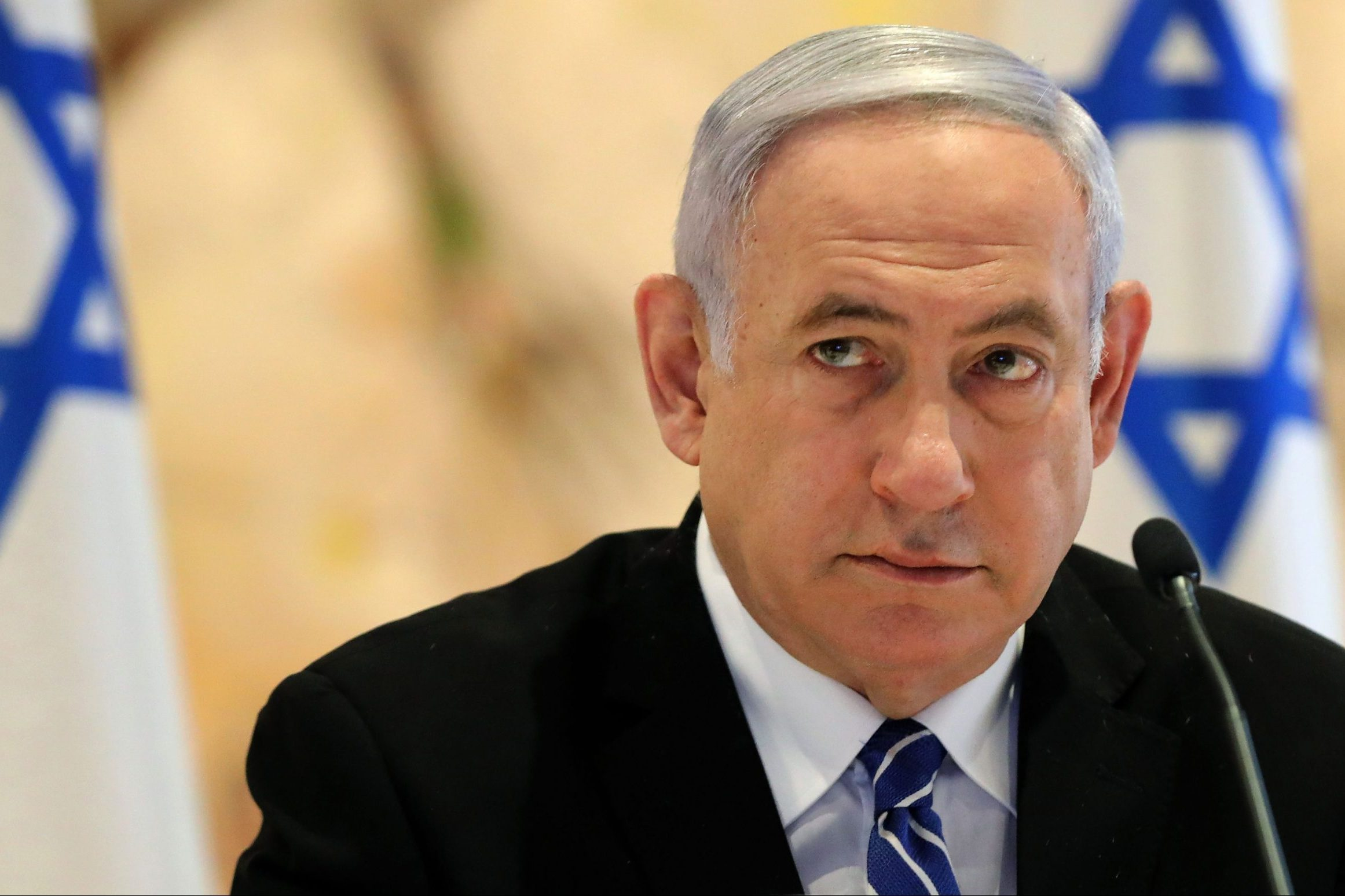 Israeli Prime Minister Benjamin Netanyahu attends a cabinet meeting of the new government at Chagall State Hall in the Knesset (Israeli parliament) in Jerusalem on May 24, 2020.
