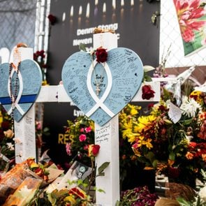 Crosses in memorial of those lost outside the site of a shooting at a King Soopers grocery store on Thursday, March 25, 2021 in Boulder, Colorado.