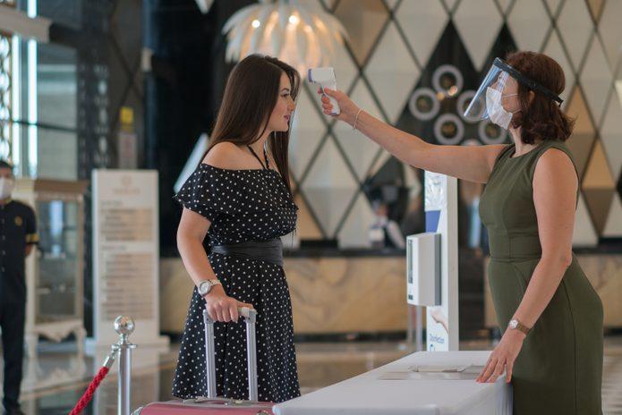 Check body temperature for Covid-19 in Resort Hotel