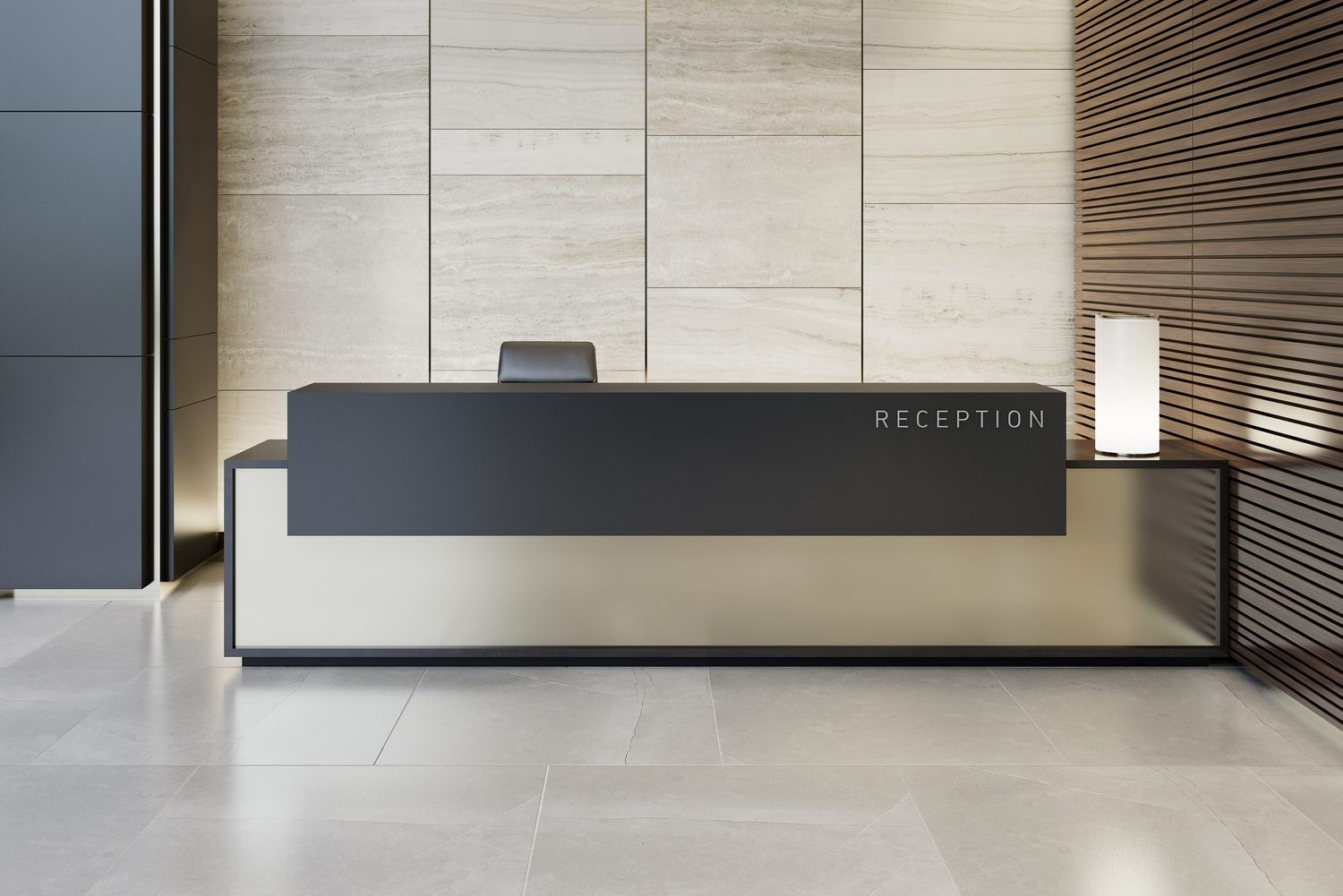 Reception desk luxurious open space interior with marble tiles with copy space