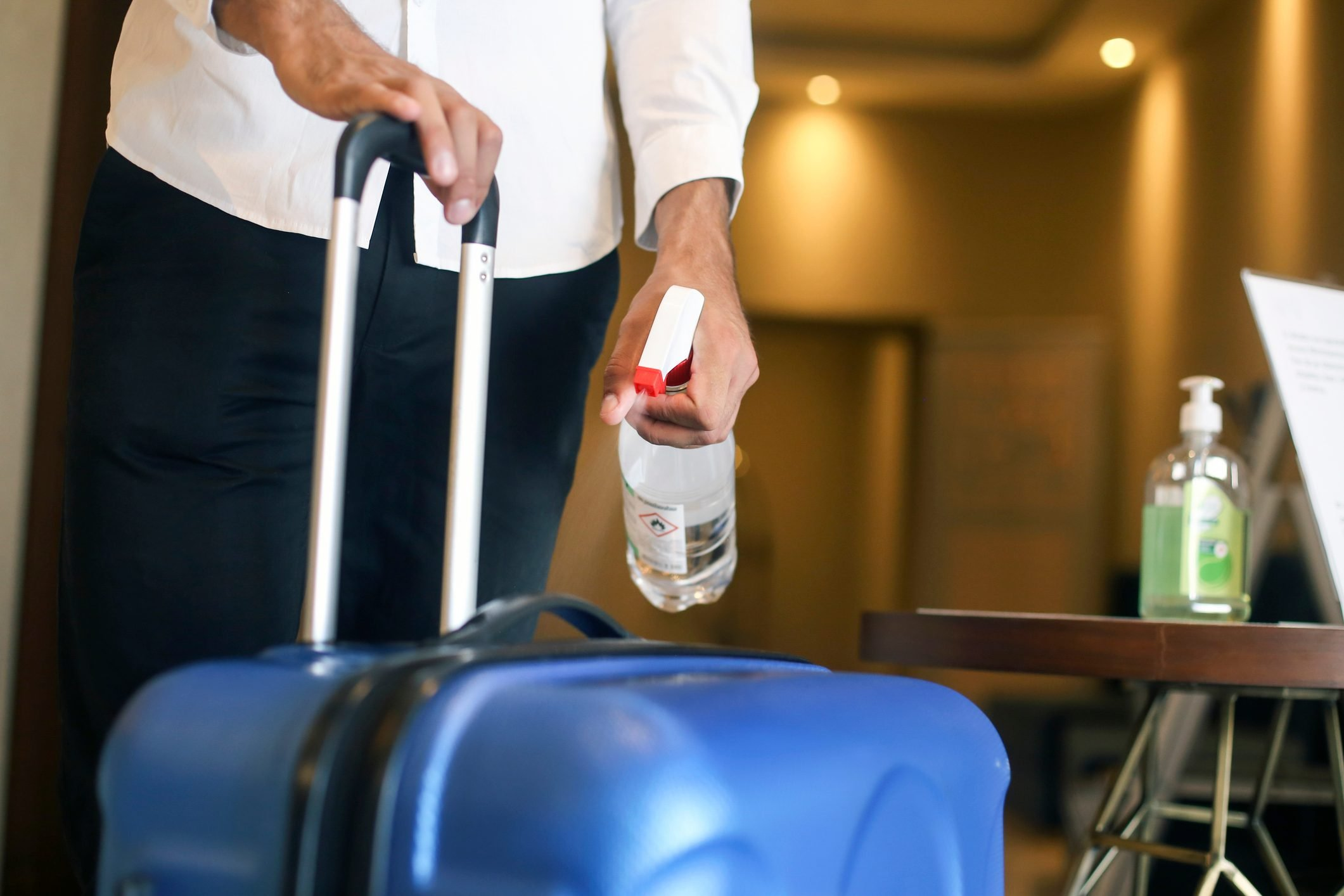 Disinfecting a suitcase