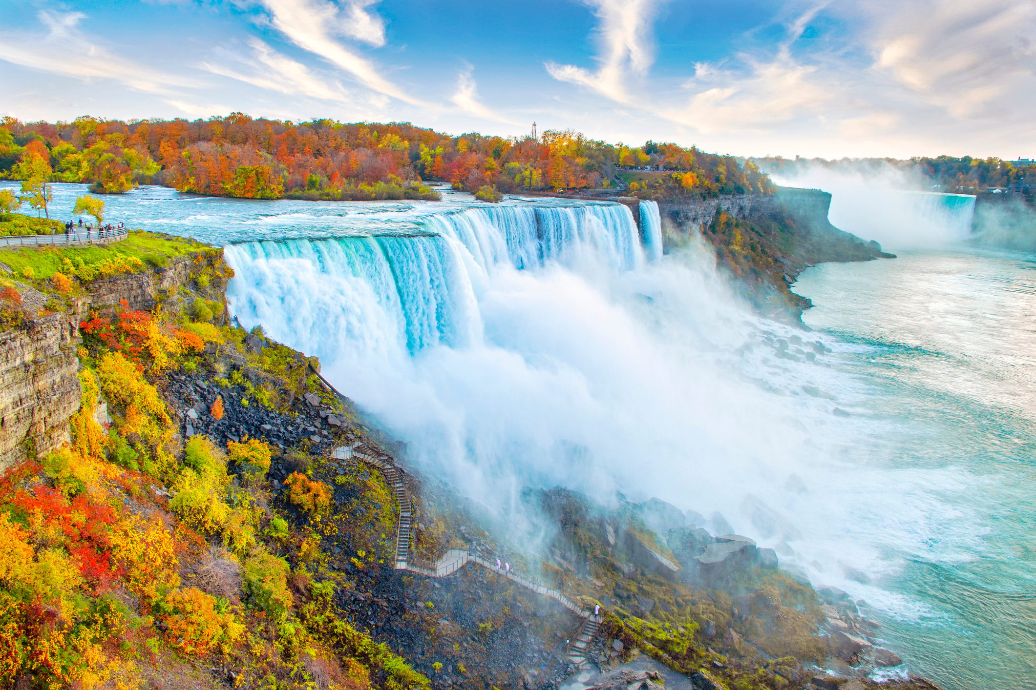 Niagara Falls including American Falls in New York in the foreground and Horseshoe Falls in Canada in background, with autumn leaf colors
