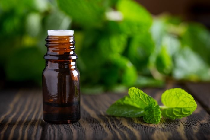 Blank amber bottle with essential oil Peppermint with mint leaves