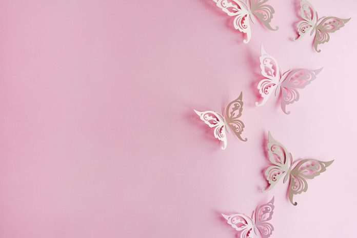 Festive pink background with paper butterflies.