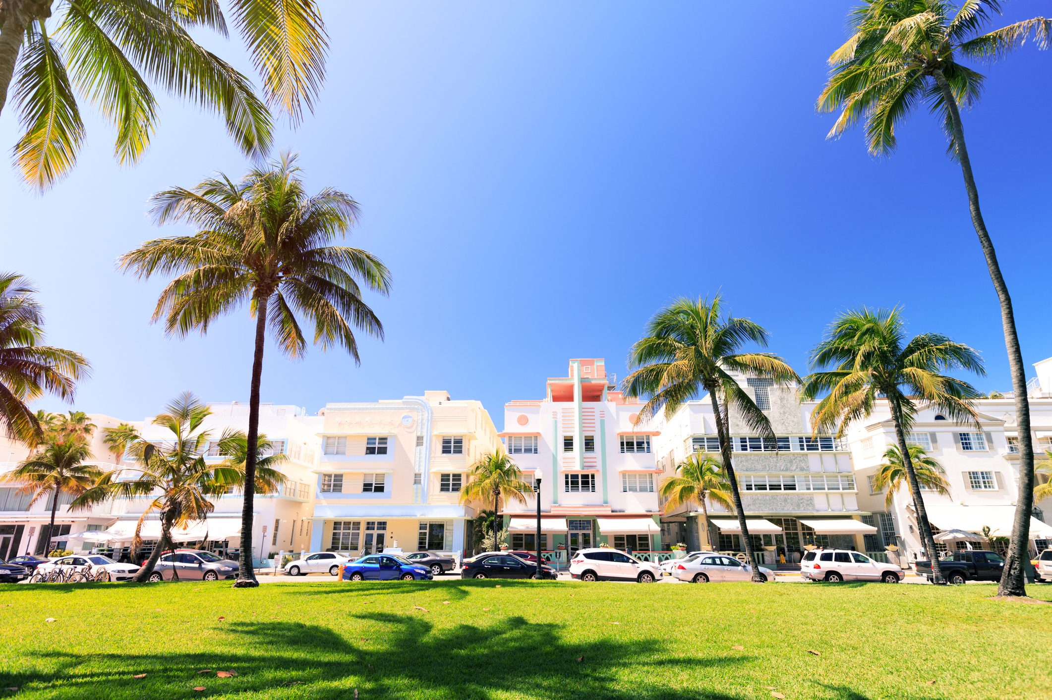 Art Deco buildings and palm trees on Ocean Drive in South Beach, Miami, Florida