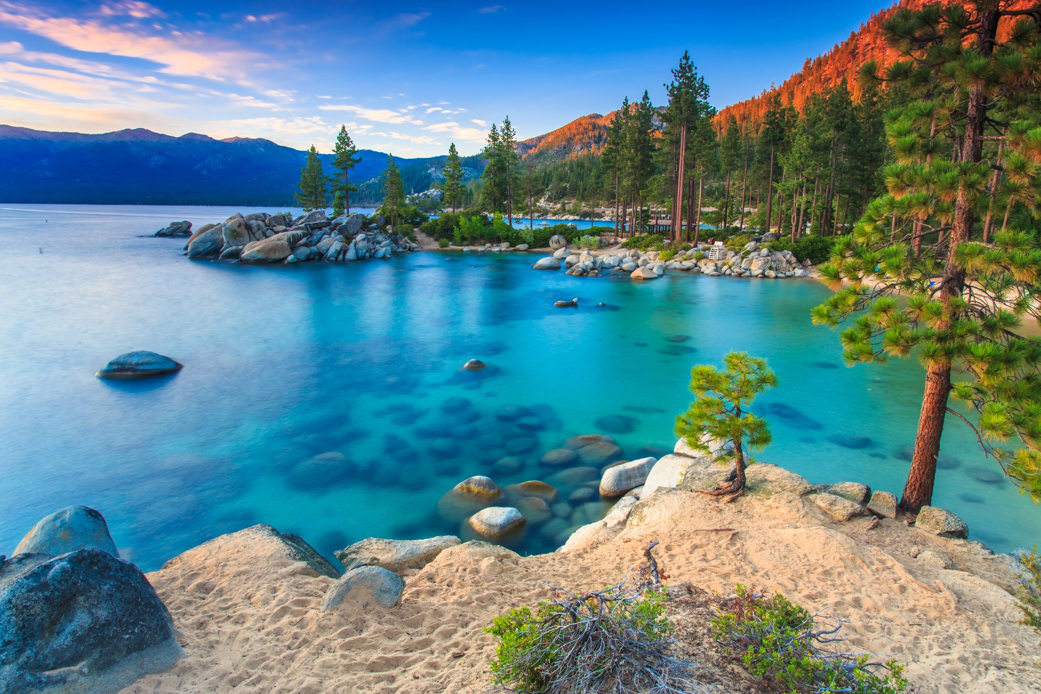 landscape and clear waters at Sand Harbor, Lake Tahoe, California
