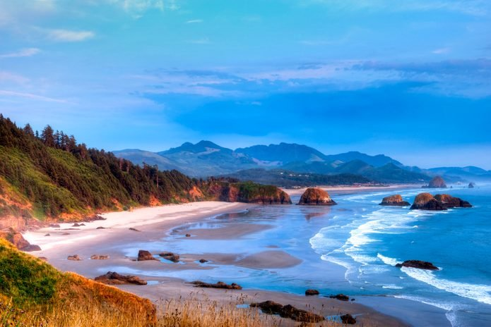 Cannon Beach overlook from Ecola State park at sunset, Oregon coast, Oregon State, USA.
