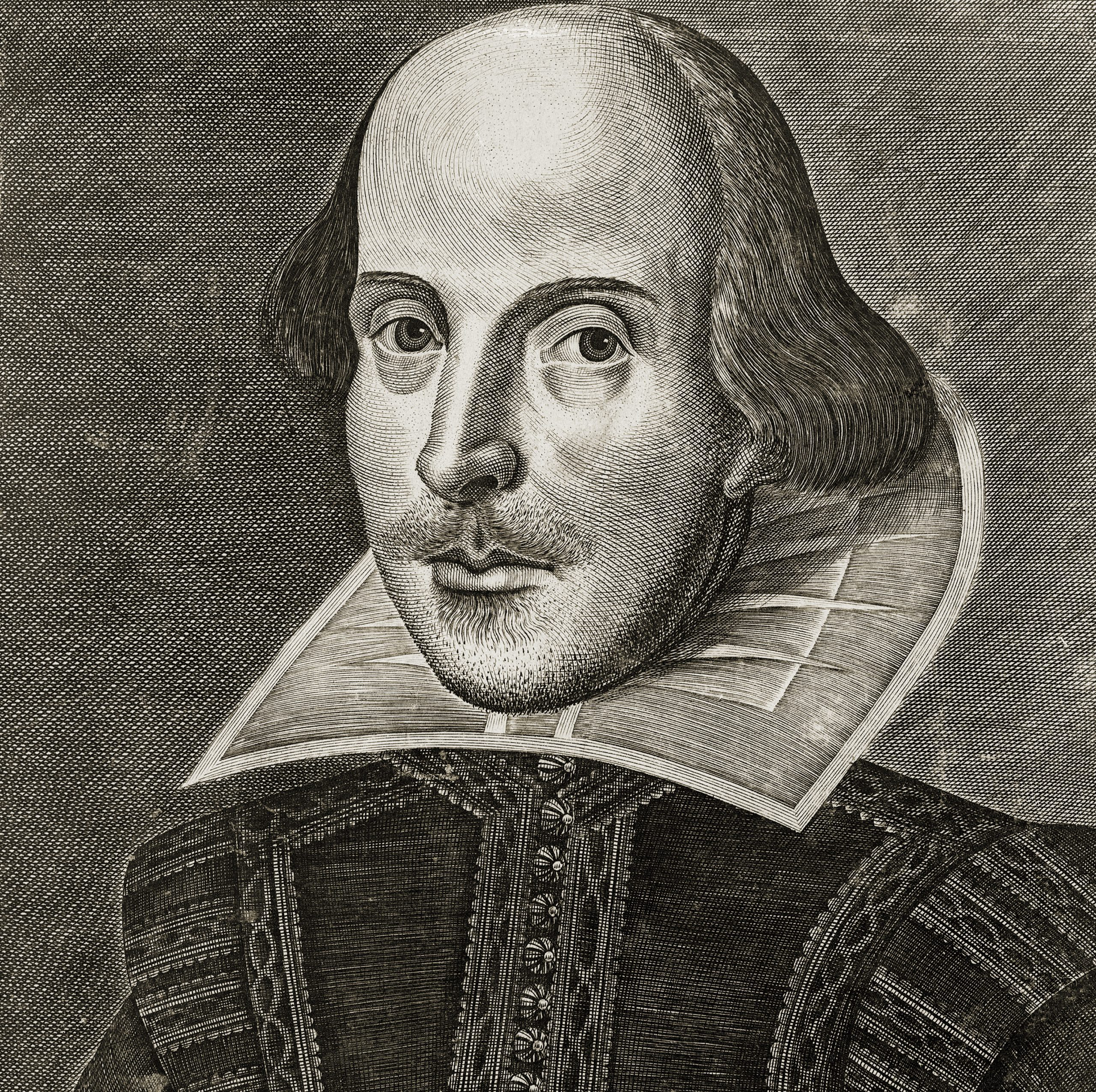 Portrait of William Shakespeare from the title page of the First Folio of Shakespeare's plays; copper engraving by Martin Droeshout, 1623.