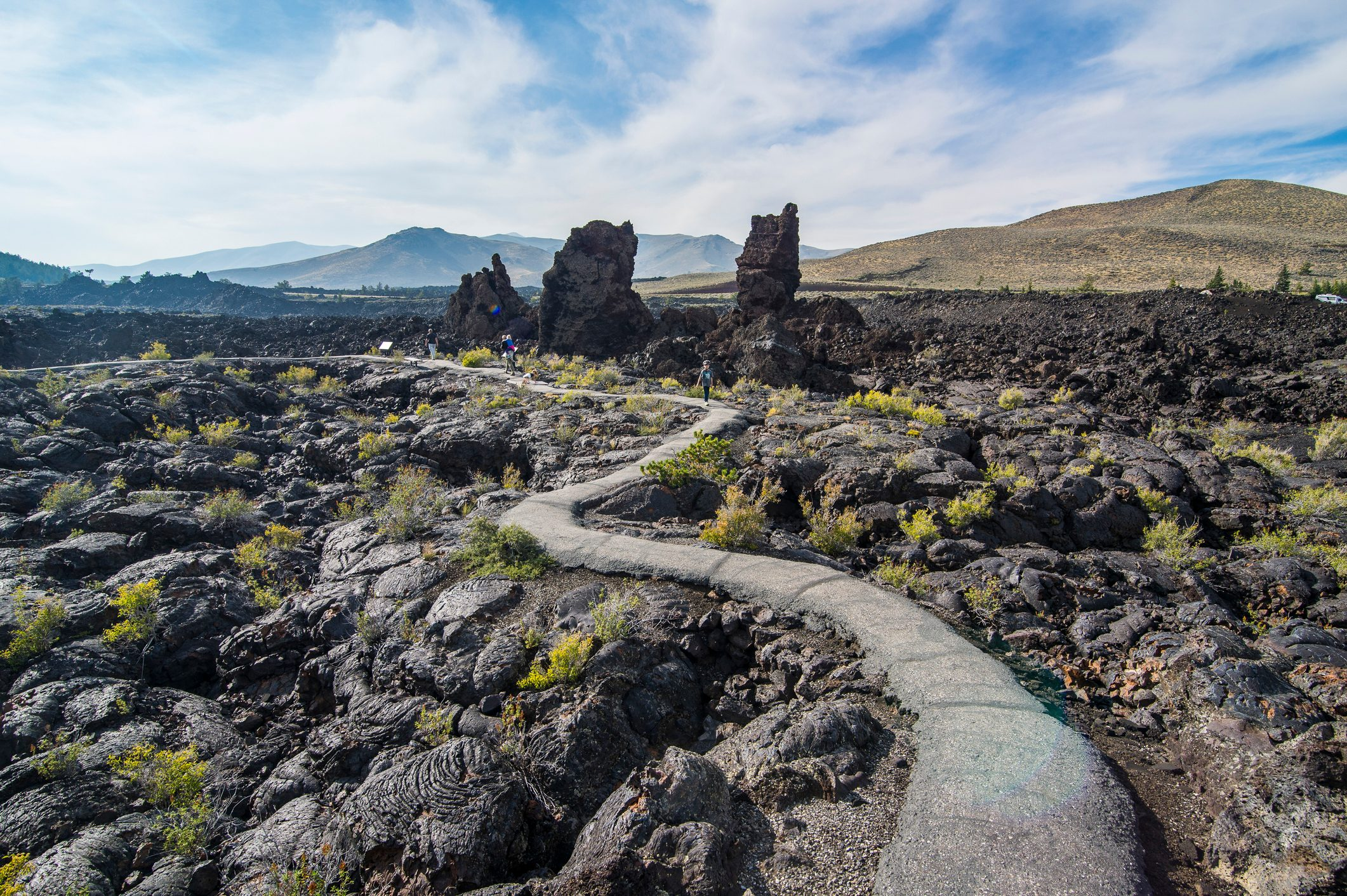 Walkway through cold lava in the Craters of the Moon National Park, Idaho, United States