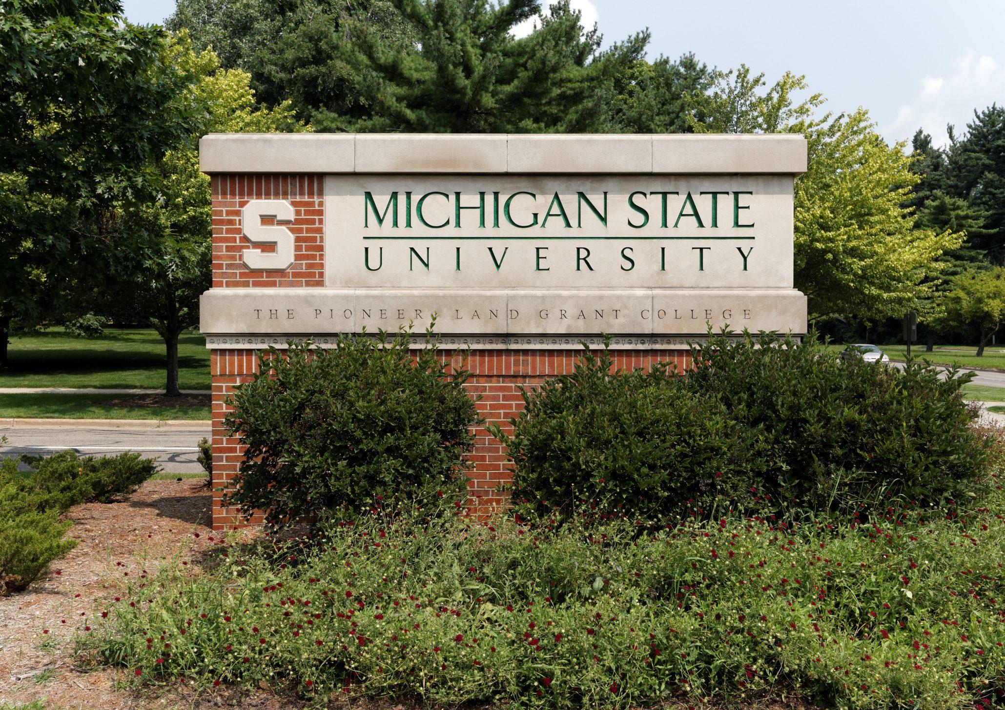 Michigan State University entrance sign; East Lansing, MI