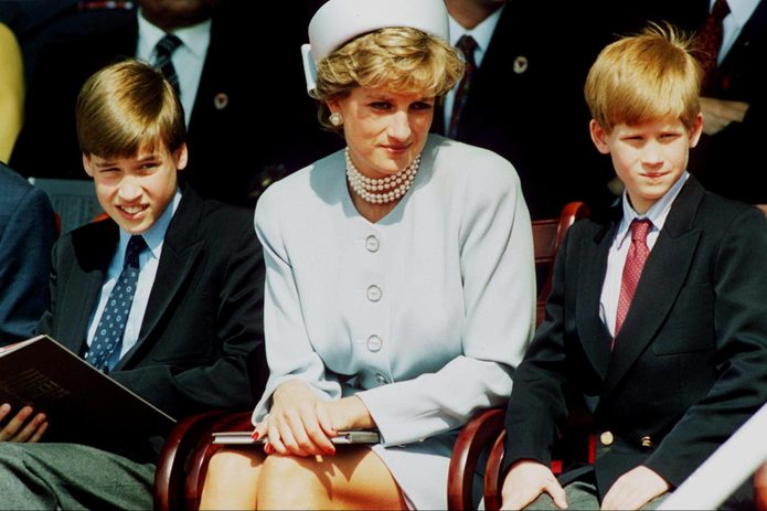 Princess Diana, Princess of Wales with her sons Prince William and Prince Harry, May 7, 1995
