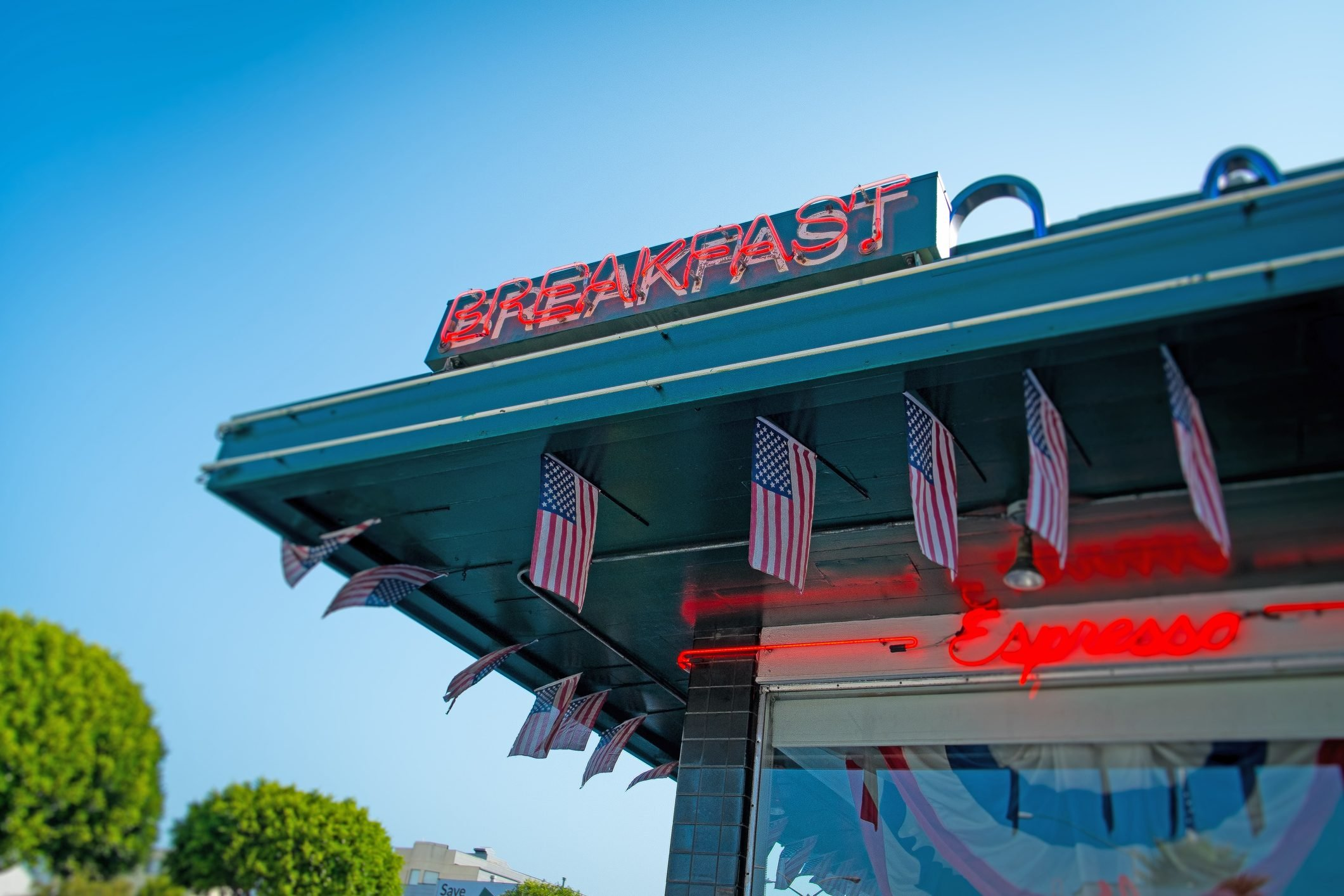 Low angle view of breakfast sign on diner, San Francisco, California, USA