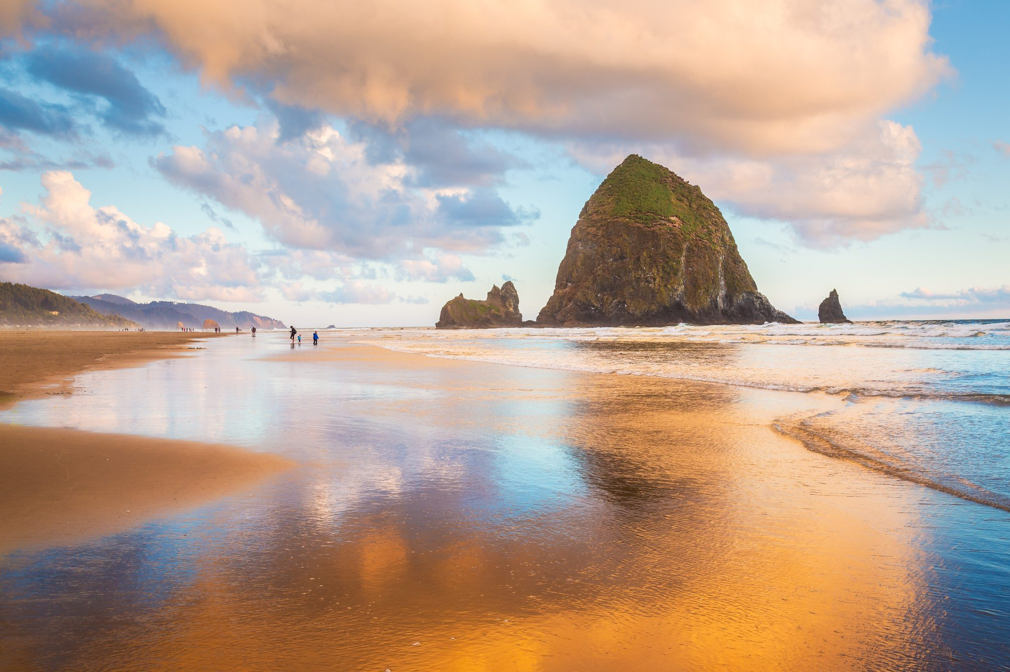 Golden Hour on Cannon Beach with Haystack Rock, Oregon