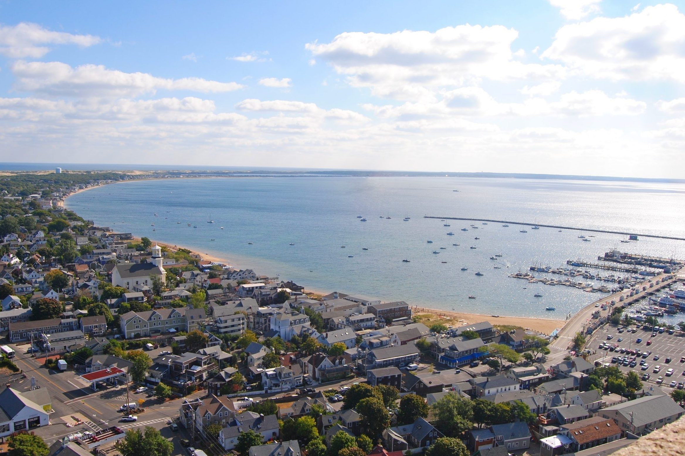 View over Provincetown, Massachusetts toward East Harbor.
