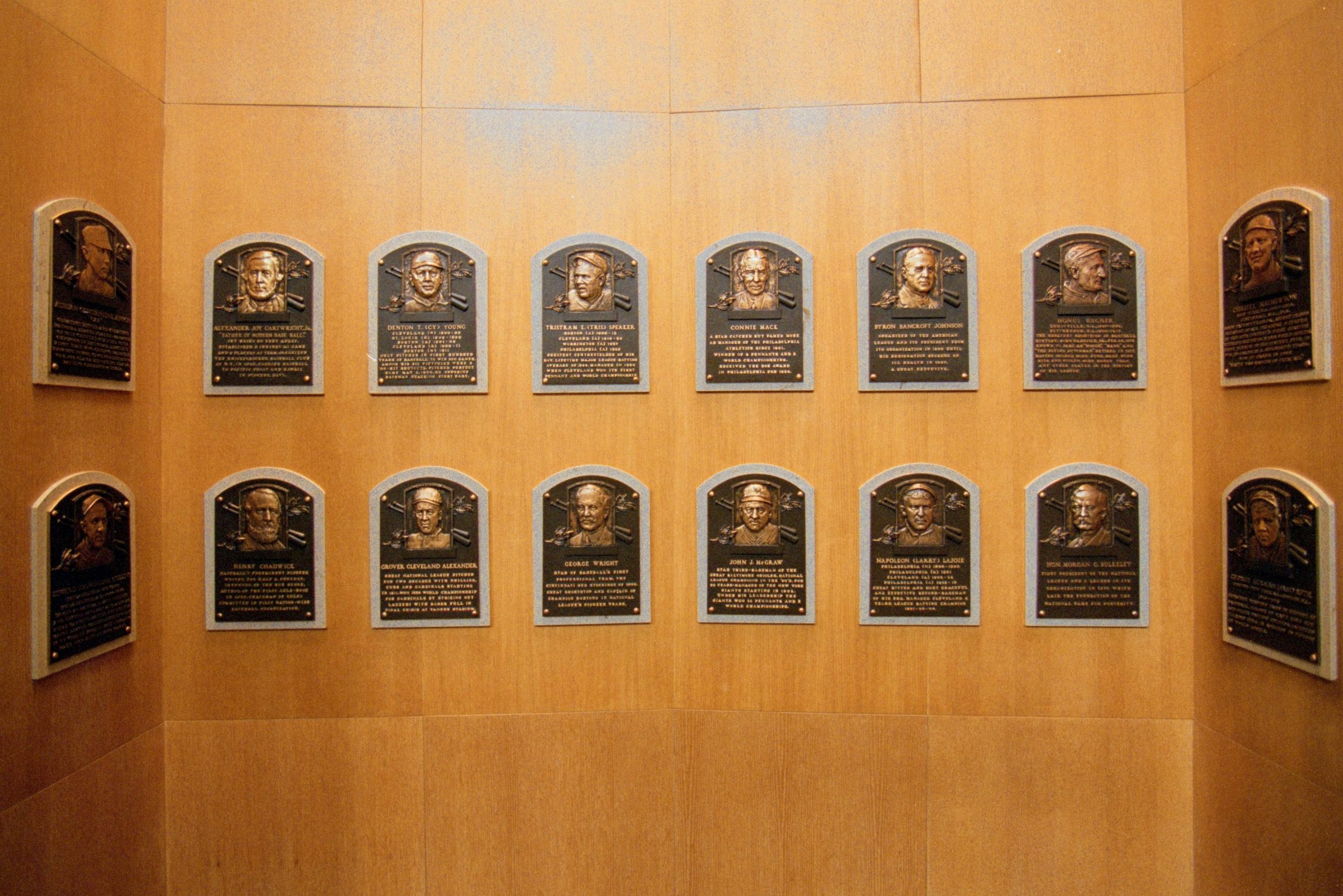 Wall of Plaques dedicated to the Legends of Baseball at the Baseball Hall of Fame in Cooperstown, New York.