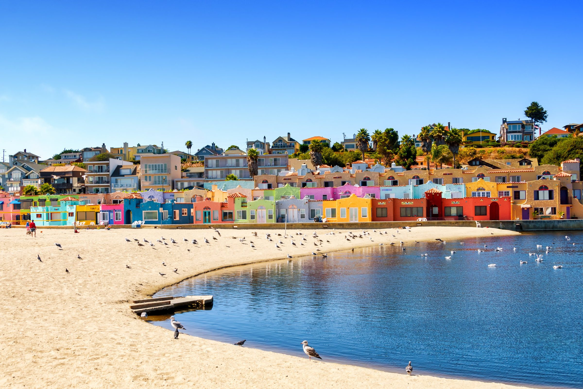 Colorful residential neighborhood in Capitola beach, on the California coast
