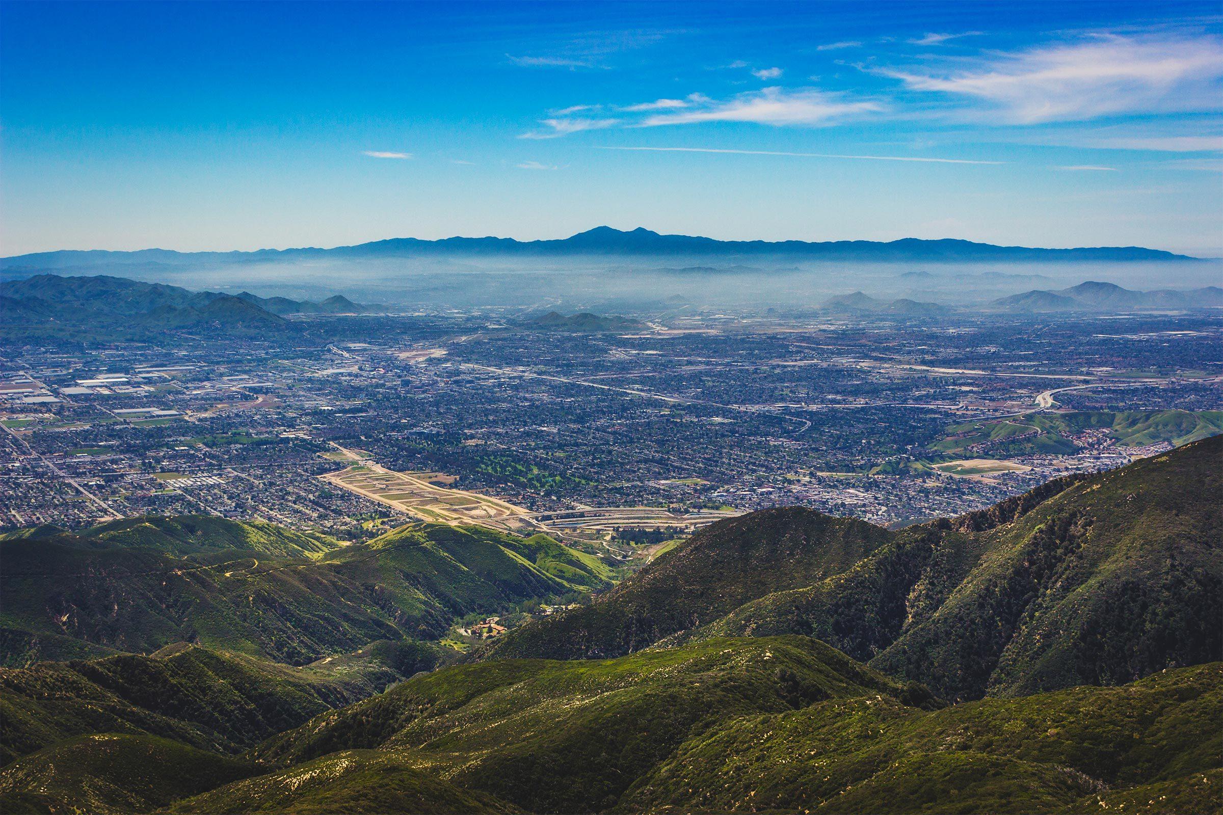 Breathtaking view of the San Bernardino Valley from the San Bernardino Mountains with Santa Ana Mountains visible in the distance, Rim of the World Scenic Overlook, San Bernardino County, California