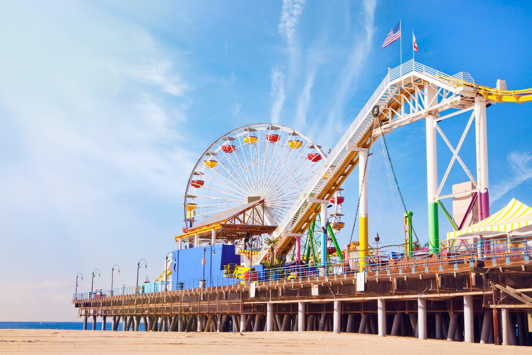 a view of Santa Monica beach and pier from the beach, Santa Monica, California