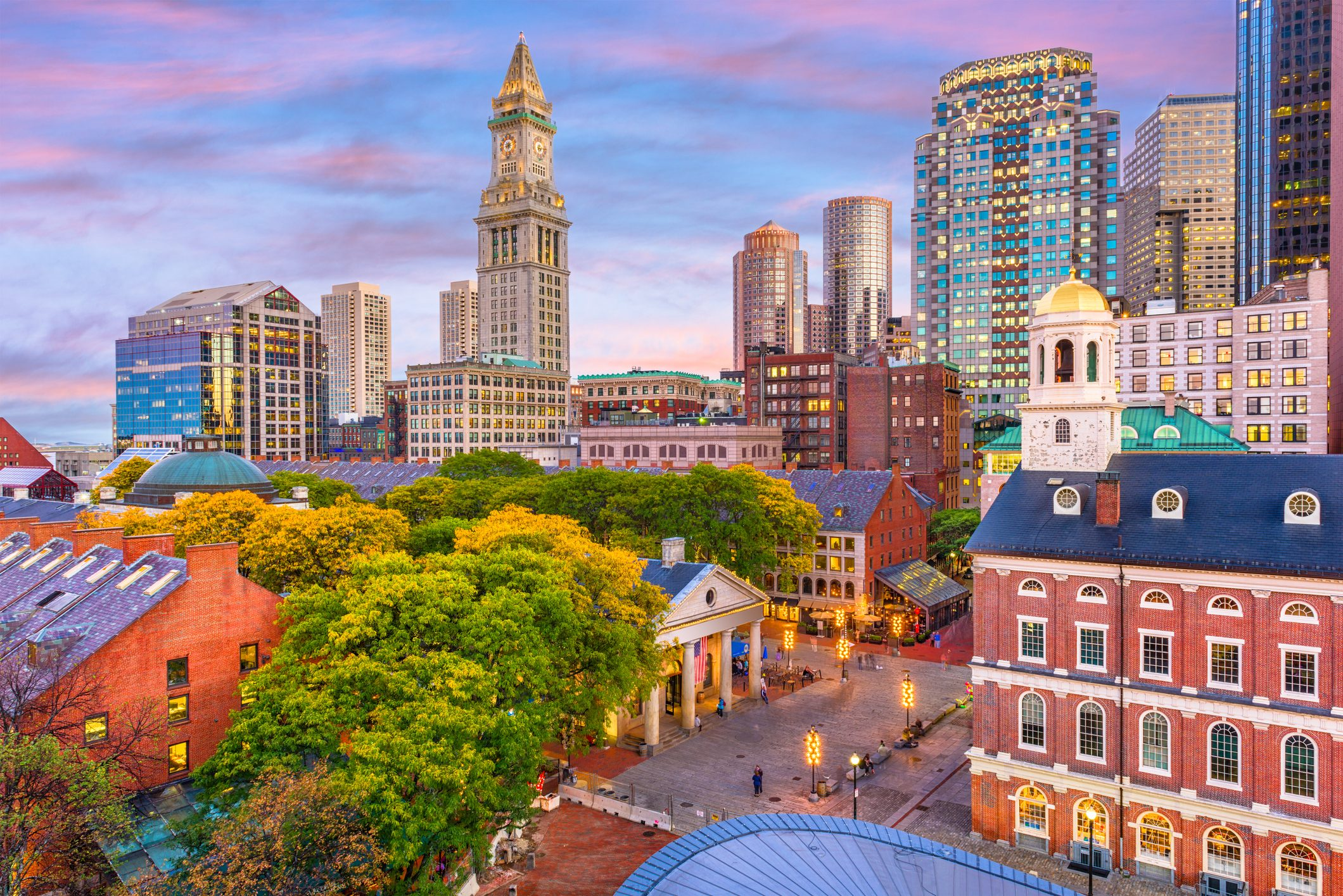 Boston, Massachusetts, skyline over Quincy Market.