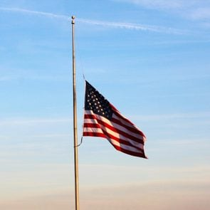 Flag at Half Mast in the early evening