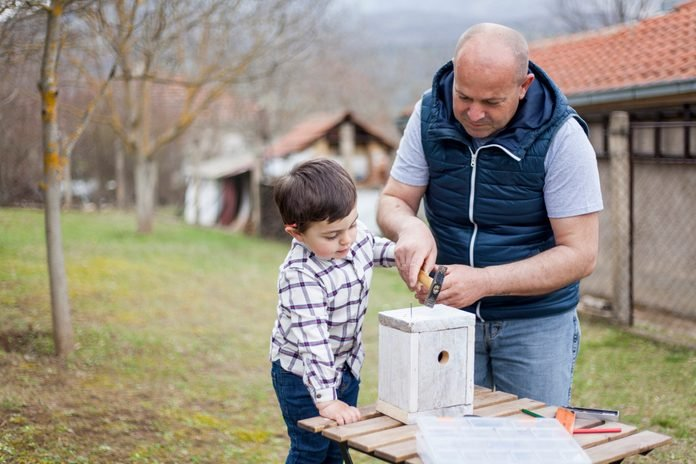 Father and son building birdhouse outdoor