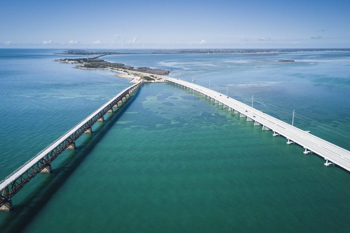 Seven Mile Bridge in Florida Keys from drone point of view