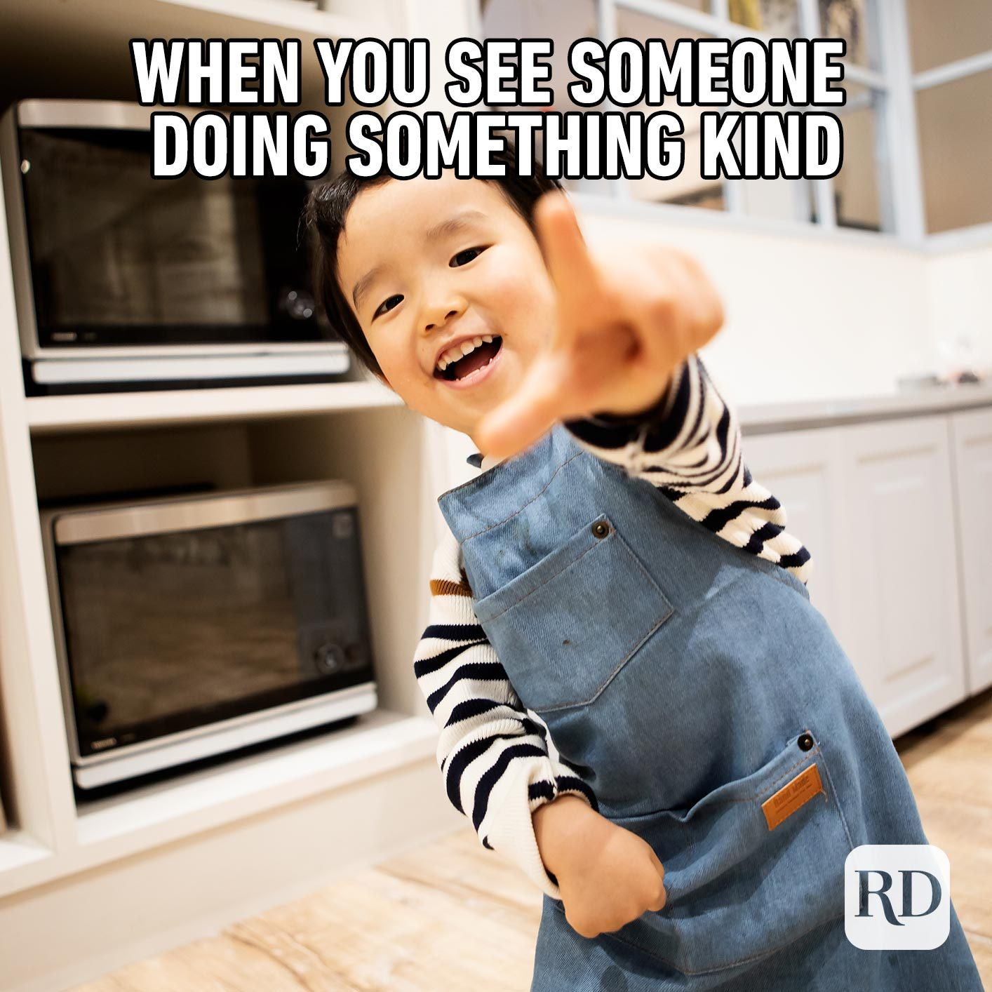 Child pointing at camera. Meme text: When you see someone doing something kind