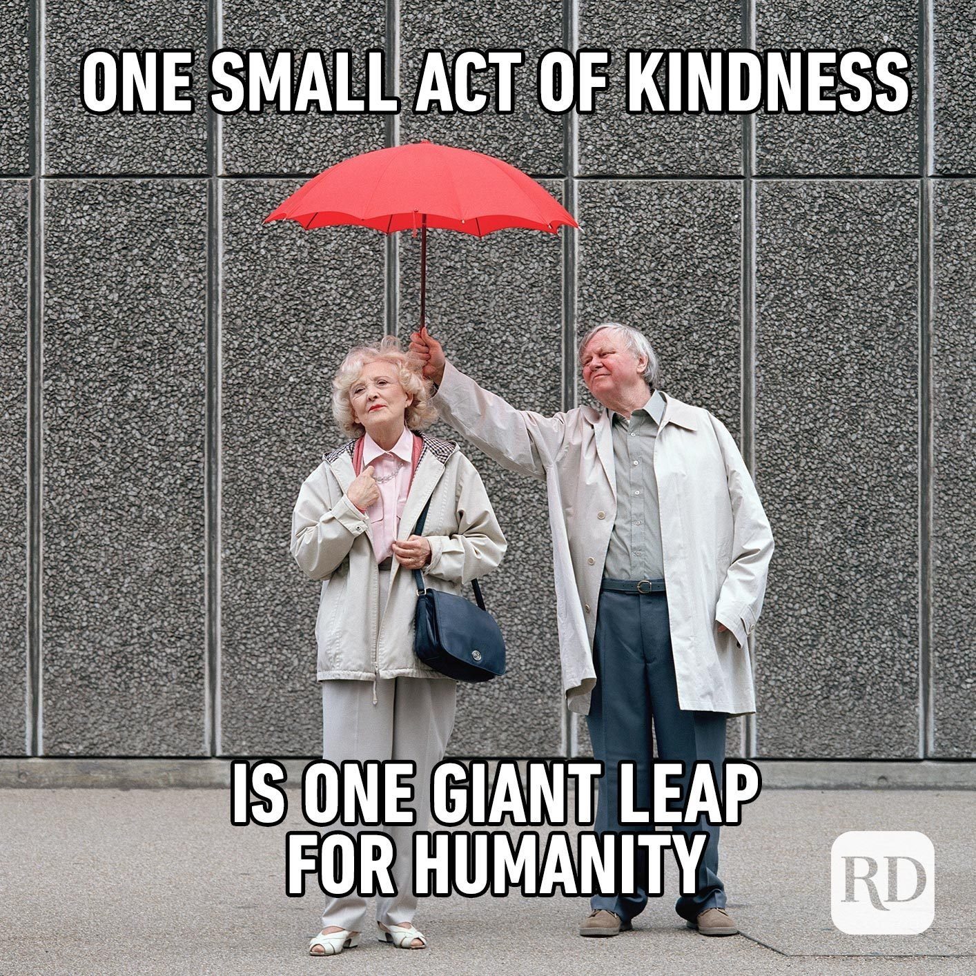 Man holding umbrella for woman. Meme text: One small act of kindness is one giant leap for humanity