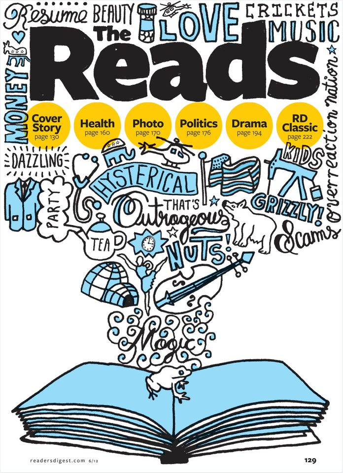 The title image of The Reads section, Reader's Digest, June 2012