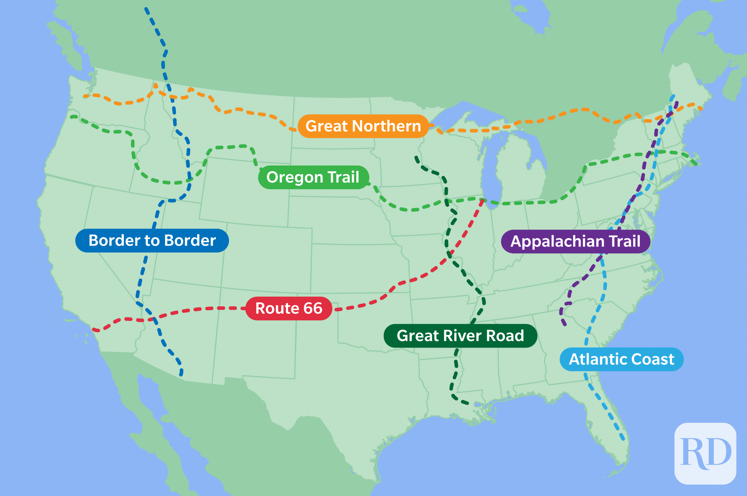 Map of united states with various road trip routes outlined in colorful dotted lines