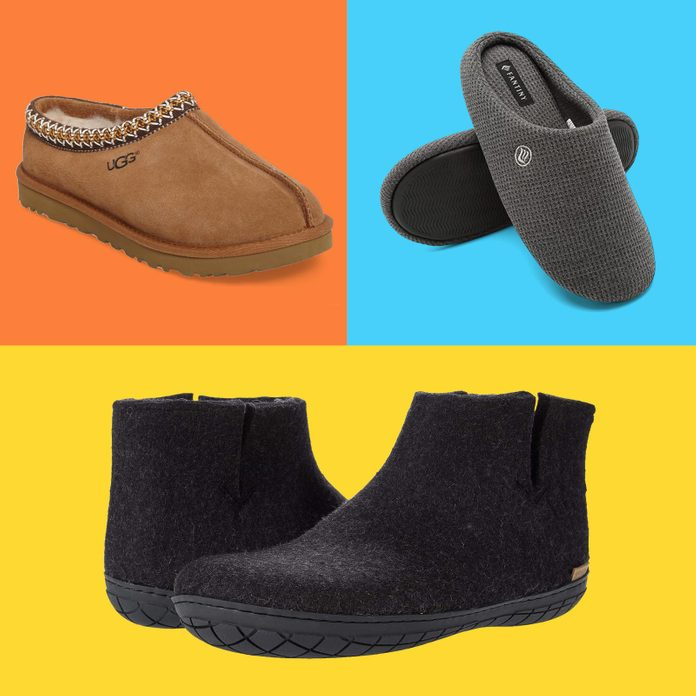 Grid of three different slippers to buy online