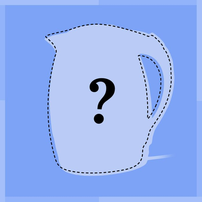 Outline of tea kettle with question mark in middle